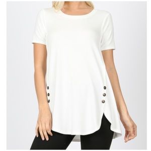 "NEW ""Mila"" side faux button top"
